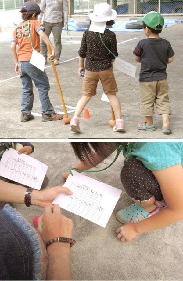 上:3人でプレイする子どもチーム  下:最後にグループ全員で各自の得点確認