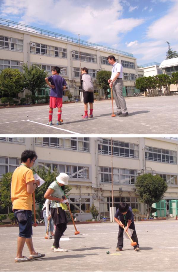 上:和田小学校の先生と児童 下:2家族の参加者