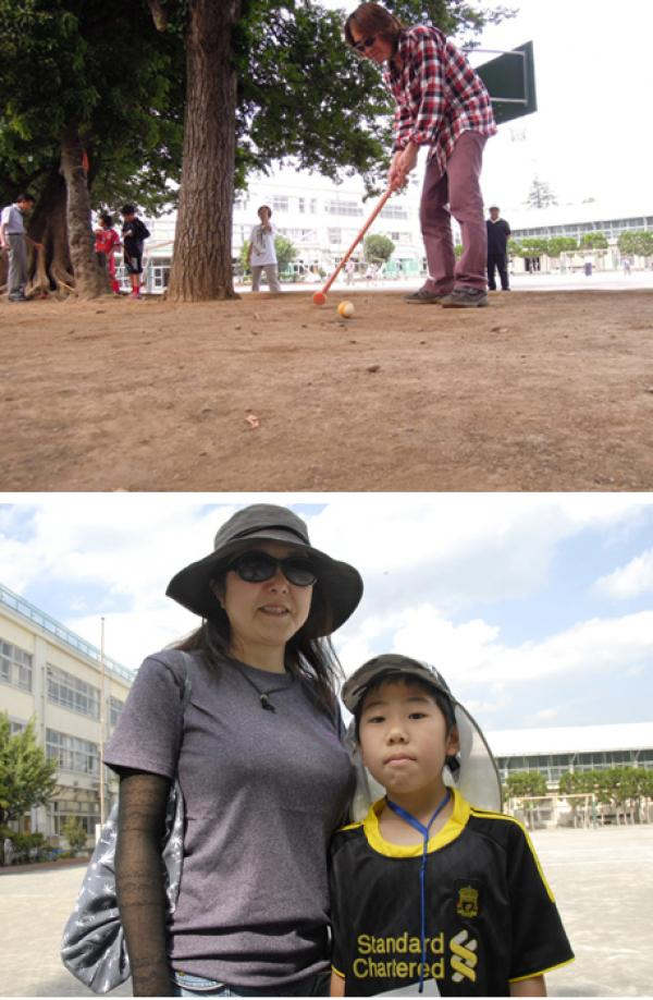 上:参加していた保護者  下:杉十小学校の参加親子