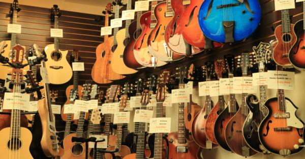 ビンテージや中古のギター、ウクレレ、マンドリンが中心。新品は個人作家が制作した1点ものが多い。100万円を超えるものもある