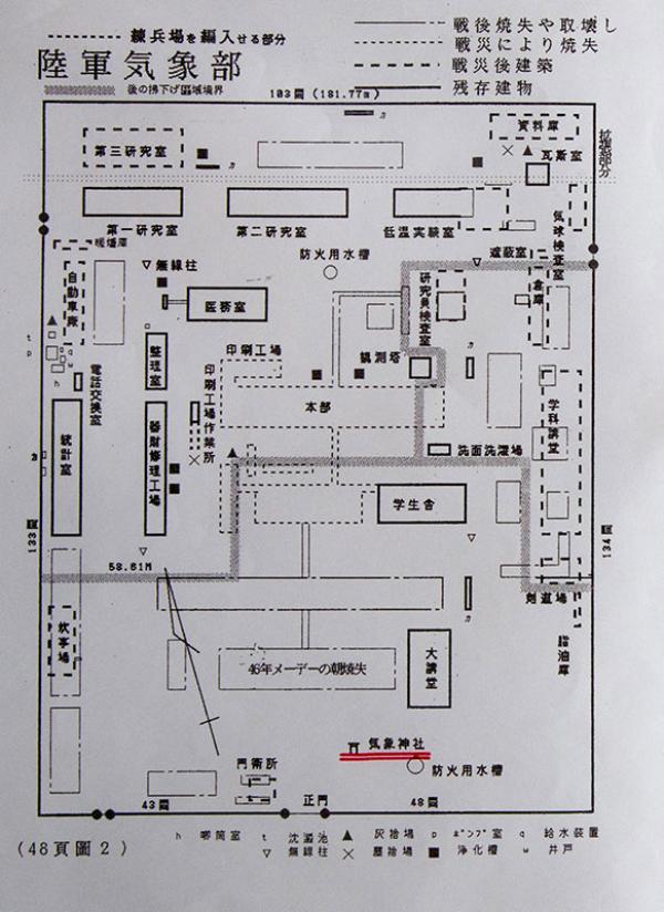 陸軍気象部の平面図(資料提供:中島邦男さん)