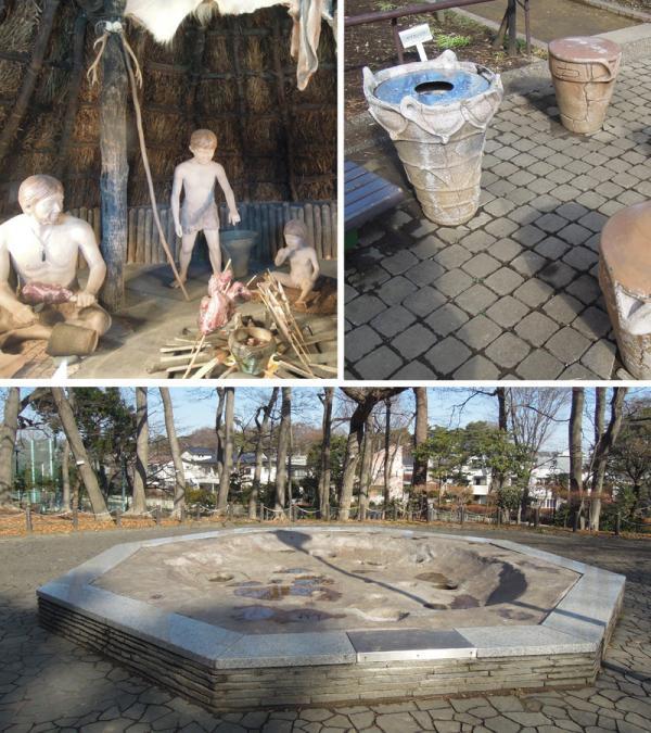 写真上左:竪穴住居の中で見られる縄文人の様子<br>写真上右:土器の形をしたユニークなごみ箱といす<br>写真下:縄文中期の住居跡(復元)