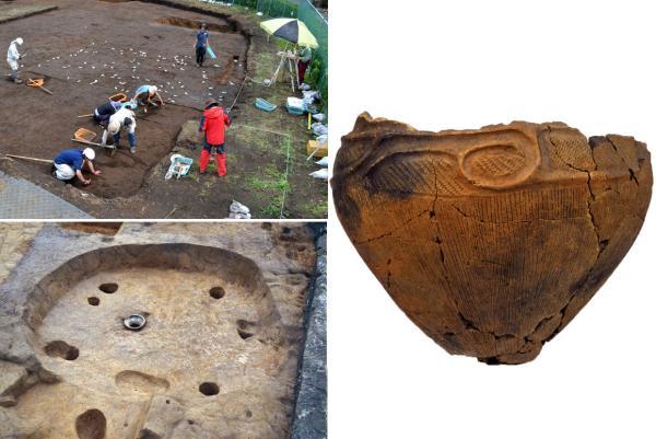 写真左上:「谷戸遺跡」の発掘風景、左下:住居跡、右:出土した土器(写真提供:生涯学習推進課)