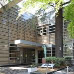 杉並区立中央図書館。エントランスに突き出たギザギザの庇(ひさし)が目を引く。玄関脇にそびえる大樹はシンボルツリーのヒマラヤスギ。手前にあるのは「アンネのバラ」の鉢植え