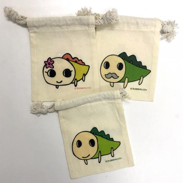 キャラ巾着XS(左上:ナミー、右上:なみきおじさん、下:なみすけ)
